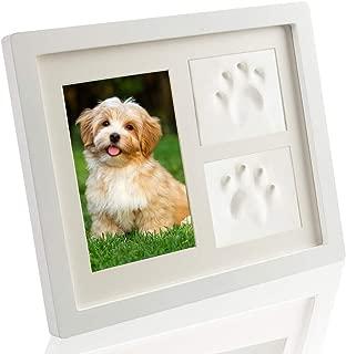SCIROKKO Pet Memorial Picture Frame - Paw Print Kit with Clay - Pet Keepsakes Kit - Remebrance Decor