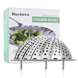 Buylorco Steamer Basket Stainless Steel Folding Vegetable Steamer Insert Steamer Cookware for Veggie Seafood Cooking (fit for 6' to 10' pots)