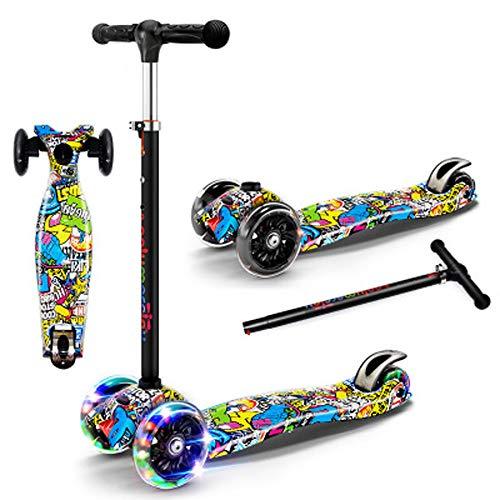 Giow Scooter para Niños, Scooter De Cuatro Ruedas, Rueda De Flash Fría, Plegable, Diseño De Freno, Ajustable En Cuatro Velocidades