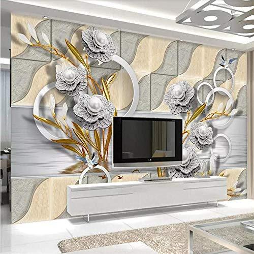 Papel pintado para pared, diseño de flores, 350 x 256 cm