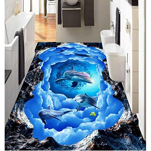 Rureng Bild In Bild 3D Bodenbelag Tapete Wandbild Dolphin Sky Wallpaper Für Schlafzimmer Wände 3D Bodenmalerei-450X300Cm