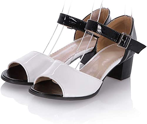 MENGLTX High Heels Sandalen Neue Frauen Sandalen Mode Mischfarben Sommer Schuhe Einfache Schnalle Elegante Peep Toe Bequeme Quadratische Ferse Schuhe