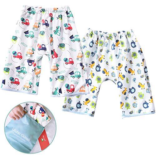 おねしょ対策ケット 2枚入 ズボンタイプ おねしょ対策 ズボン 防水 通気 天然綿100% かわいい動物 車 男の子 女の子 ウエスト50~60cm 3-5歳 (収納袋付き)