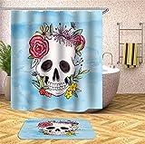 Fansu Cortina de Ducha Antimoho Impermeable Antibacteriano100% Poliéster, 3D Cráneo Impresión Diseño Transparente Cortina de Infantil Baño Ducha Bañera con 12 Anillos (120x180cm,D)