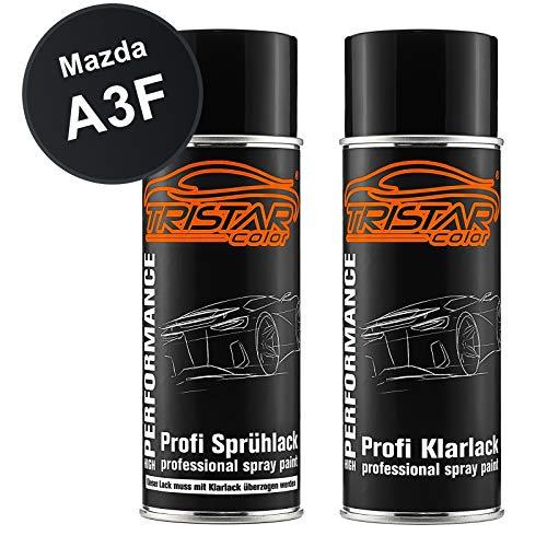 TRISTARcolor Autolack Spraydosen Set für Mazda A3F Brillant Black/Brillantschwarz Basislack Klarlack Sprühdose 400ml