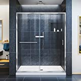 DreamLine Infinity-Z 56-60 in. W x 72 in. H Semi-Frameless Sliding Shower Door, Clear Glass in Chrome, SHDR-0960720-01