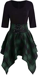 Funnygals - Fashion Women Casual Lace Up Tartan Plaid Print Asymmetrical Mini Dress V-Neck A-Line Fit Party Flare Skirt
