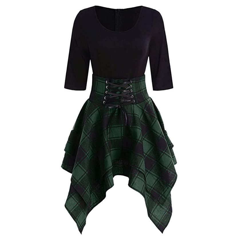 Adeliber Women's Dress Casual O-neck Tie Plaid Plaid Print Asymmetric Mini Dress Party Dress