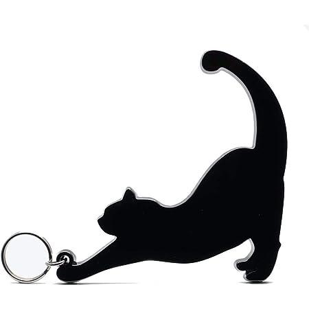 金属製 非接触 ドアオープナー 猫 触らない キーホルダー クロームブラック 触らにゃい