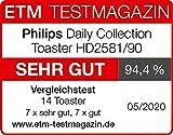 Philips HD2581/90 Toaster, integrierter Brötchenaufsatz, 8 Bräunungsstufen, schwarz - 4
