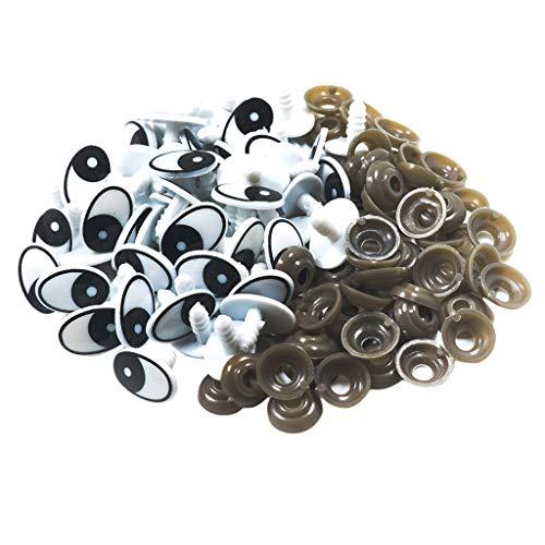 Bonarty 60 Ojos de Seguridad de Plástico con Juntas para Juguetes, Muñecos de Oso, Manualidades