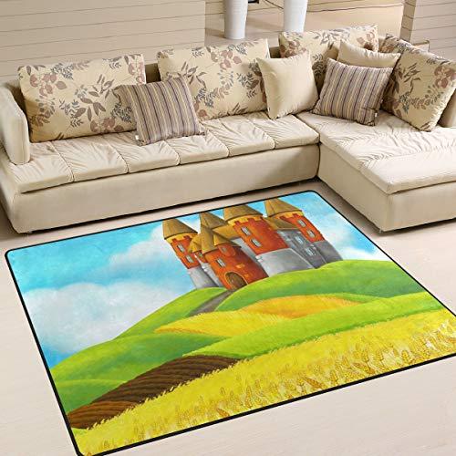 XiangHeFu Weiche Fußmatten 7 'x 5' (80 x 58 Zoll) Teppiche Rural Castle Rice Field rutschfeste Bodenmatte für Wohnzimmer Schlafzimmer