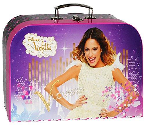alles-meine.de GmbH Kinderkoffer -  Disney Violetta  - Groß - Puppenkoffer Koffer - Reisekoffer aus Pappe mit Metall Griff - für Kinder Mädchen Martina Stoessel Channel - Musik..