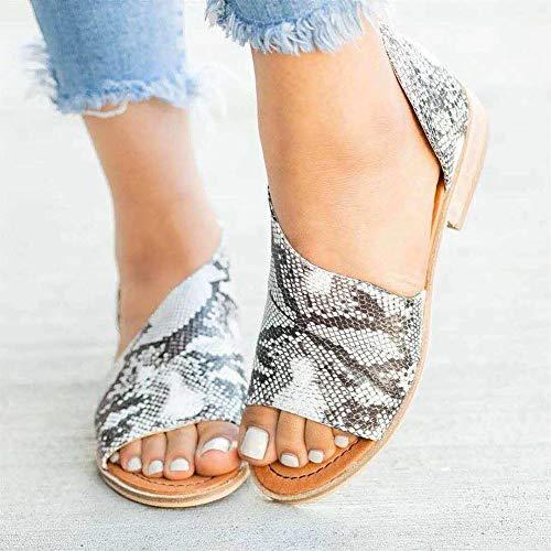 OshoeQ Sandalias con Cuña para Mujer Sandalias con Punta Abierta Verano Retro Cuero Cómodo Sandalias de Caminar Antideslizantes Zapatos de Viaje Verano Playa,Snake Pattern,35