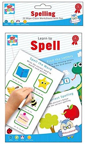 Learn To épeler - Spelling écriture & La lecture 20 Essuyez Feuilles de calcul avec stylo