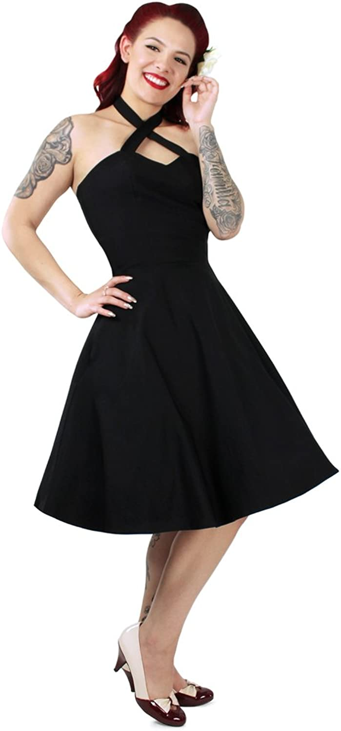 Hemet Black Criss Cross Halter Dress