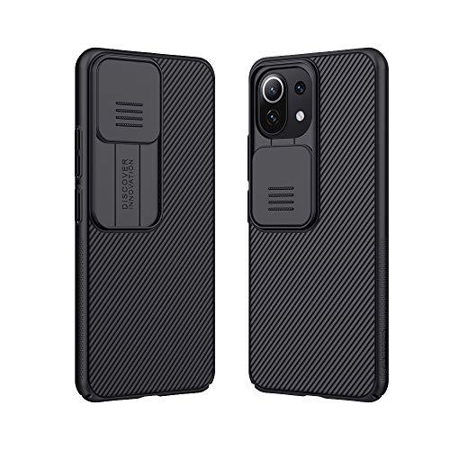 DNGN Kompatibel mit Xiaomi Mi 11 Lite Hülle, Slide Cover Kamera Objektiv Schutz Hülle für Xiaomi Mi 11 Lite 4G & 5G (schwarz)