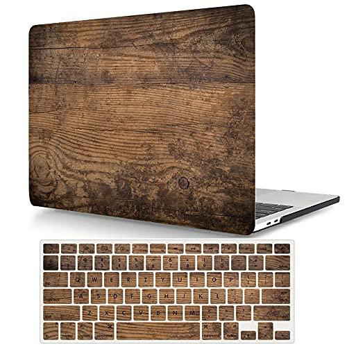 ACJYX Funda Compatible con MacBook Pro 13 2020-2016 Modelo A2338 M1 A2289 A2251 A2159 A1989 A1708 A1706, Plástico Carcasa Protector Dura Case y Cubierta del Teclado - Grano de Madera
