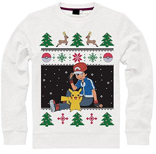 Pokemon Pullover -XL- Christmas Ash & Pikachu, wei