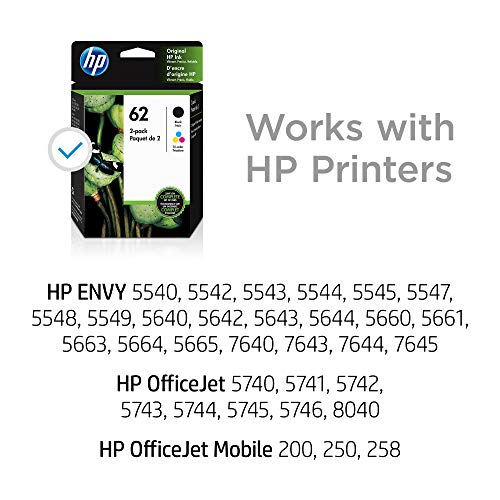 HP 62 | 2 Ink Cartridges | Black, Tri-color | C2P04AN, C2P06AN (N9H64FN)