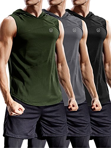Neleus 3 Pack Workout Athletic Gym Muscle Tank Top with Hoods,5036,Black,Grey,Olive...