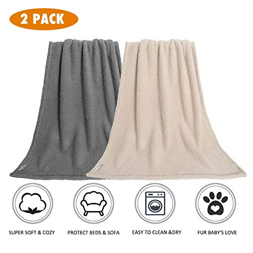 Premium Fluffy Fleece Dog Blanket, Soft and Warm Pet Throw for Dogs & Cats (2-Pack Large 40x47'', Grey&Beige)