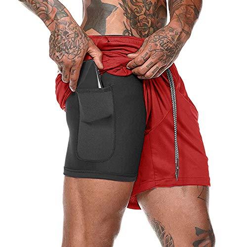 Lixada Pantalones Cortos Running Hombres 2 en 1 Ligero Ropa Deportiva para Fitness Entrenamiento de Yoga y Gimnasio