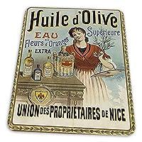 ゲーミングマウスパッド - シャンペノワ優れたオリーブオイルフランスの広告 マウスパッド おしゃれ ゲームおよびオフィス用/防水/洗える/滑り止め/ファッショナブルで丈夫 25x30cm