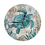 Lewiuzr Reloj de Pared Redondo Reloj de Escritorio Moderno Reloj Colgante clásico Que no Hace tictac para la Oficina de la Escuela en casa,Tortuga Vintage