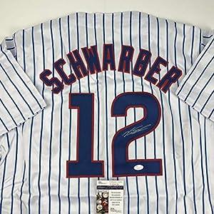 Autographed/Signed Kyle Schwarber Chicago Pinstripe Baseball Jersey JSA COA