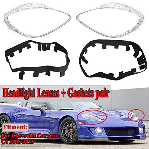 Wang shufang WSF-Headlight Cover, EIN Paar Auto-Frontscheinwerferglas Scheinwerferlinsen-Abdeckungs-Ordnung ersetzen + Dichtungen Kits Fit for Chevrolet Fit for Corvette C6 2005-2013