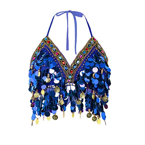 FEESHOW Women Sequin Halter Bra Top Salsa Belly Dance Costume Boho Festival Clubbing Tribal Crop Tops Royal Blue One Size