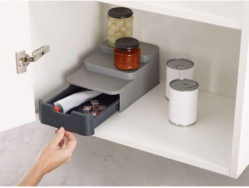 Amazon.com: Joseph Joseph CupboardStore Compact 3 Tier Shelf Organizer with  Drawer for Cabinet, Gray: Home & Kitchen