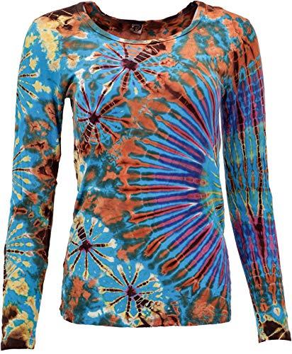 Guru-Shop Batik Shirt, Langarmshirt, Damen, Türkis, Synthetisch, Size:38, Pullover, Longsleeves & Sweatshirts Alternative Bekleidung
