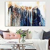 SHKJ Pinturas en Lienzo Pintura Abstracta Azul Colorida Arte de la Pared Póster Imprime imágenes para la Sala de Estar Decoración del hogar 60x90 cm / 23.6'x 35.4' Sin Marco