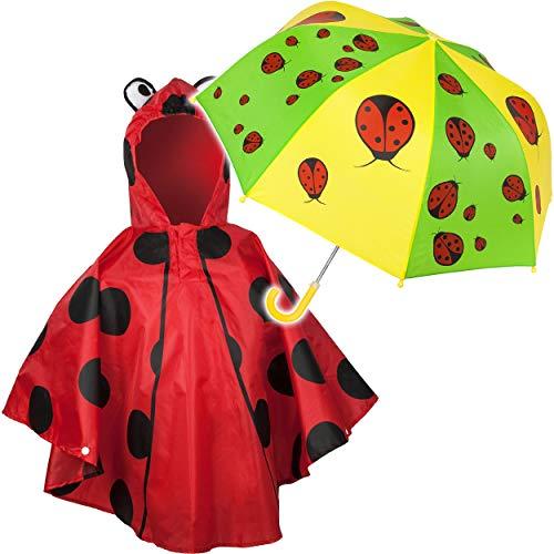 alles-meine.de GmbH 2 TLG. Set: Regenschirm + 3D Effekt - Regenponcho - lustige Marienkäfer - Kinderschirm - Ø 72 cm - Regencape - Kinder - 2 bis 6 Jahre - Stockschirm - groß mit..