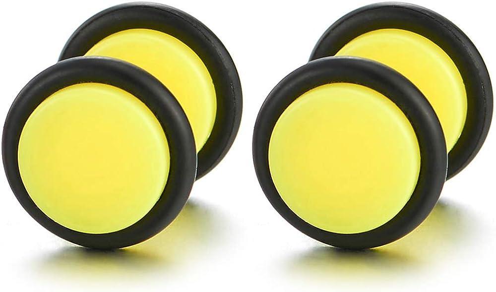 10MM Womens Men Neon Yellow Screw Stud Earrings, Steel Cheater Fake Ear Plugs Gauges Illusion Tunnel