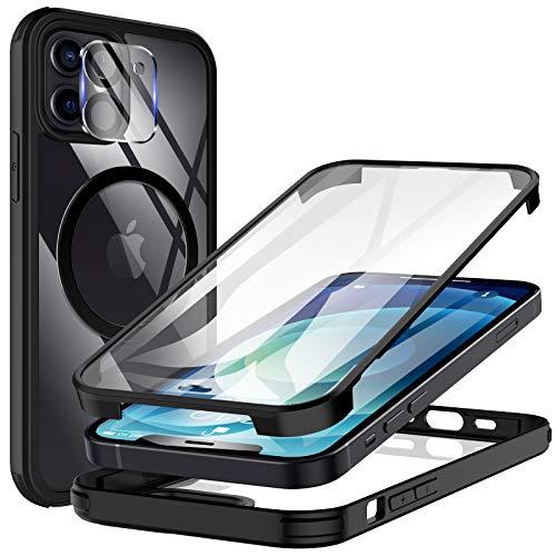 KKM Glas Hülle Kompatibel mit iPhone 12 Mini 5,4 Zoll mit Eingebauter Displayschutz und Kamera Objektivschutz,Stoßfeste Ganzkörper-Telefon Cover - Schwarz