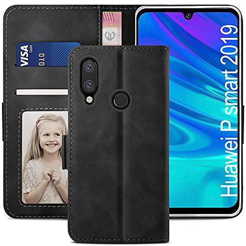 YATWIN Handyhülle Huawei P Smart 2019 Hülle, Klapphülle Huawei P Smart 2019 Premium Leder Brieftasche Schutzhülle [Kartenfach][Magnet][Stand] Handytasche für Huawei P Smart 2019 Hülle, Schwarz