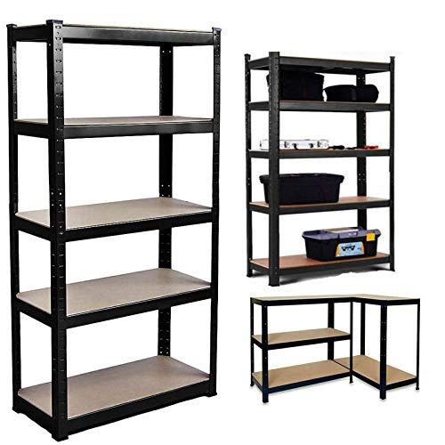 Estantería de metal resistente de 5 niveles, para taller, cobertizo, oficina, 150 x 70 x 30 cm, capacidad de 175 kg por estante.