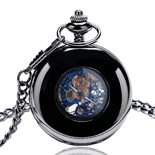 ZHAOXIANGXIANG Reloj De Bolsillo Retro,Exquisito Unisex Retro Estuche Liso Mecánico Reloj De Bolsillo De Cuerda Manual Números Romanos Azules Colgante Reloj De Bolsillo Regalo