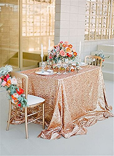 B-COOL 50x80inches Rose Gold Sequin Tablecloth Sequin Tablecloths Sequin Tablecloths Sparkle Sequin Linens for Party Decoration