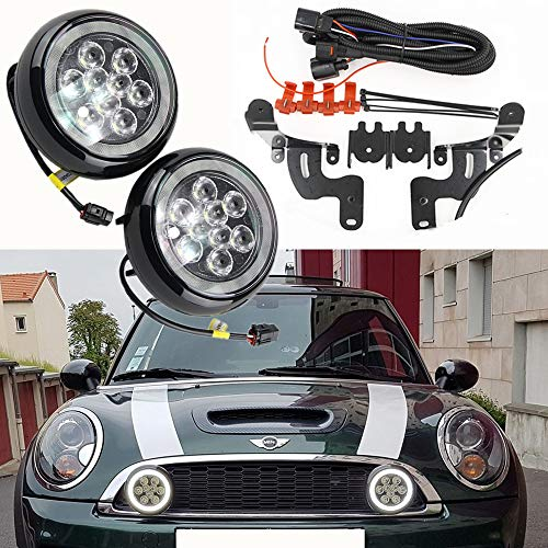 Led Rally Driving Lights for R50 R52 R53- NSLUMO Led Car Driving Lamp Daytime Running Light DRL with Halo Ring for Mini-Cooper R50 R52 R53 2001-2006 Daytime Driving Led Lamp Projector Daylight Kits