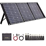 TISHI HERY 100W Portable Solar Panel Foldable with 4 Outputs Type-C/QC3.0/DC/USB Compatible with Most Portable Solar Generators Power Stations/Phones/Laptops/Tablet for Travel/Camping/RV/Hiking
