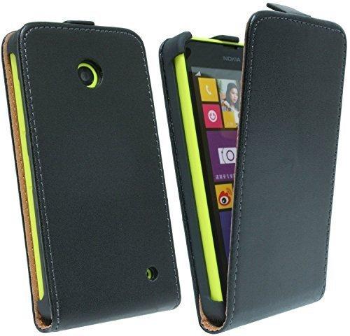 ENERGMiX Klapptasche Schutztasche kompatibel mit Nokia Lumia 630 in Schwarz Tasche Hülle