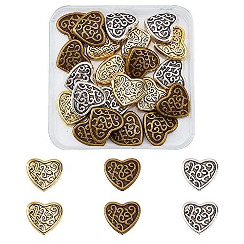 SUPERFINDINGS 30pcs 3 Colores 17 mm Cuentas de Aleación de Metal Tibetano Estilo En Forma de Corazón Aleación Tibetana Cuentas de Metal Antiguo para Pulsera Fabricación de Joyas Agujero: 2 mm