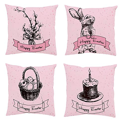 MARITOWN 4 Pieces Easter Pillow Case 18' x 18' Rabbit Bunny Throw Cushion Cover Velvet Rabbit Eggs Pattern Pillow Case for Sofa Bed Car Decoration