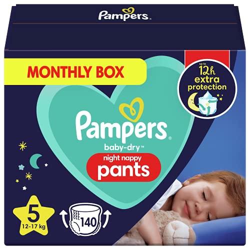 Pampers Baby-Dry Night Windelhöschen, Größe 5, 140 Windeln, 12-17 kg, Pampers Night Pants Bieten Zusätzlichen Schutz Die Ganze Nacht