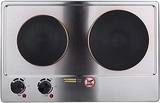 Plaque de Cuisson Double, Portable, 1500W, Brûleur en Fonte, en Acier, Noir ou Blanc - Plaque Chauffante Électrique, Récha...