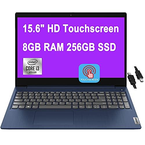 "2021 Flagship Lenovo IdeaPad 3 Laptop 15.6"" HD Touchscreen 10th Gen Intel Core i3-10110U (Beats i5-8200Y) 8GB RAM 256GB SSD Intel UHD Graphics Wifi5 Dolby Win10 + iCarp HDMI Cable"